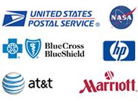 USPS, NASA, Blue Cross Blue Shield, HP, AT&T, Marriott